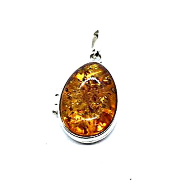 Cognac Locket Amber Pendant (carved silver rose inside)