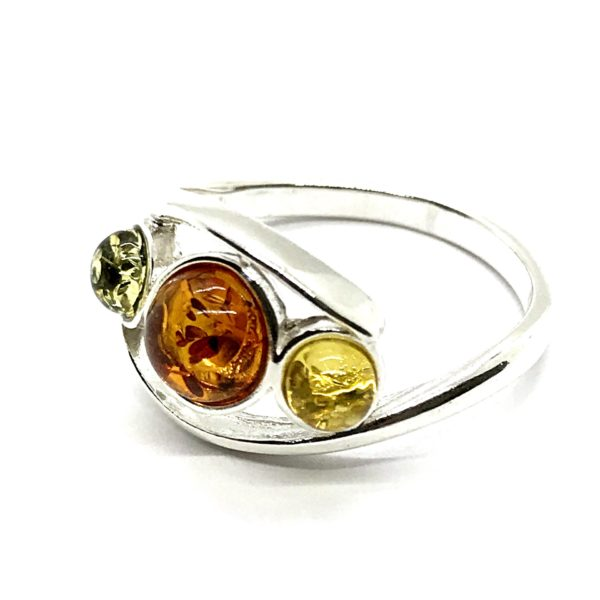 Multicolor Amber /Sterling Silver Ring