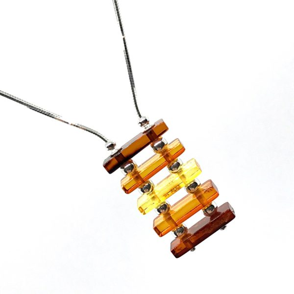 Modern Multicolor Amber /Sterling Silver Necklace