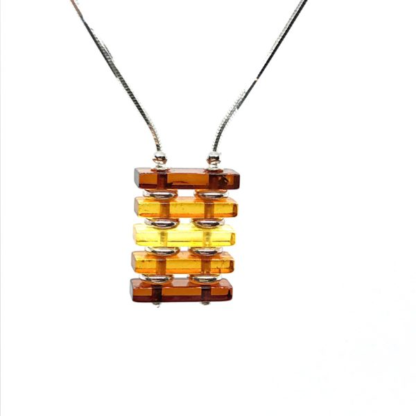 Modern Amber /Sterling Silver Necklace