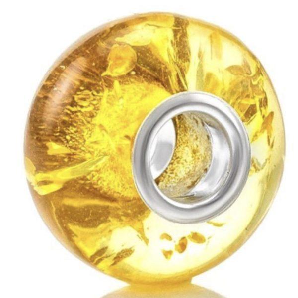 Citric Amber Charm Bead /European Bead for Bracelet