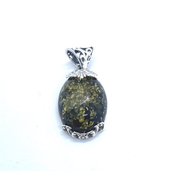 Oval Green Amber Pendant