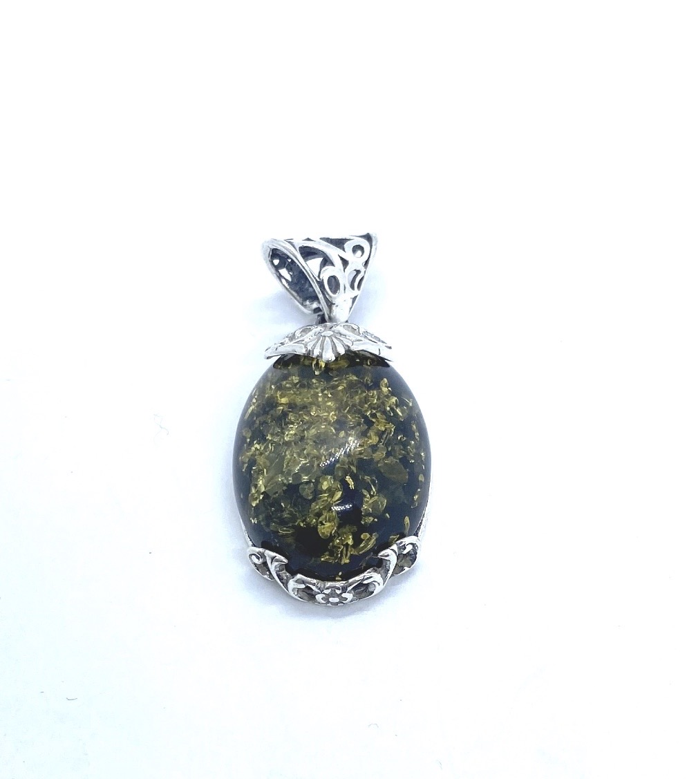 Oval Green Amber Pendant