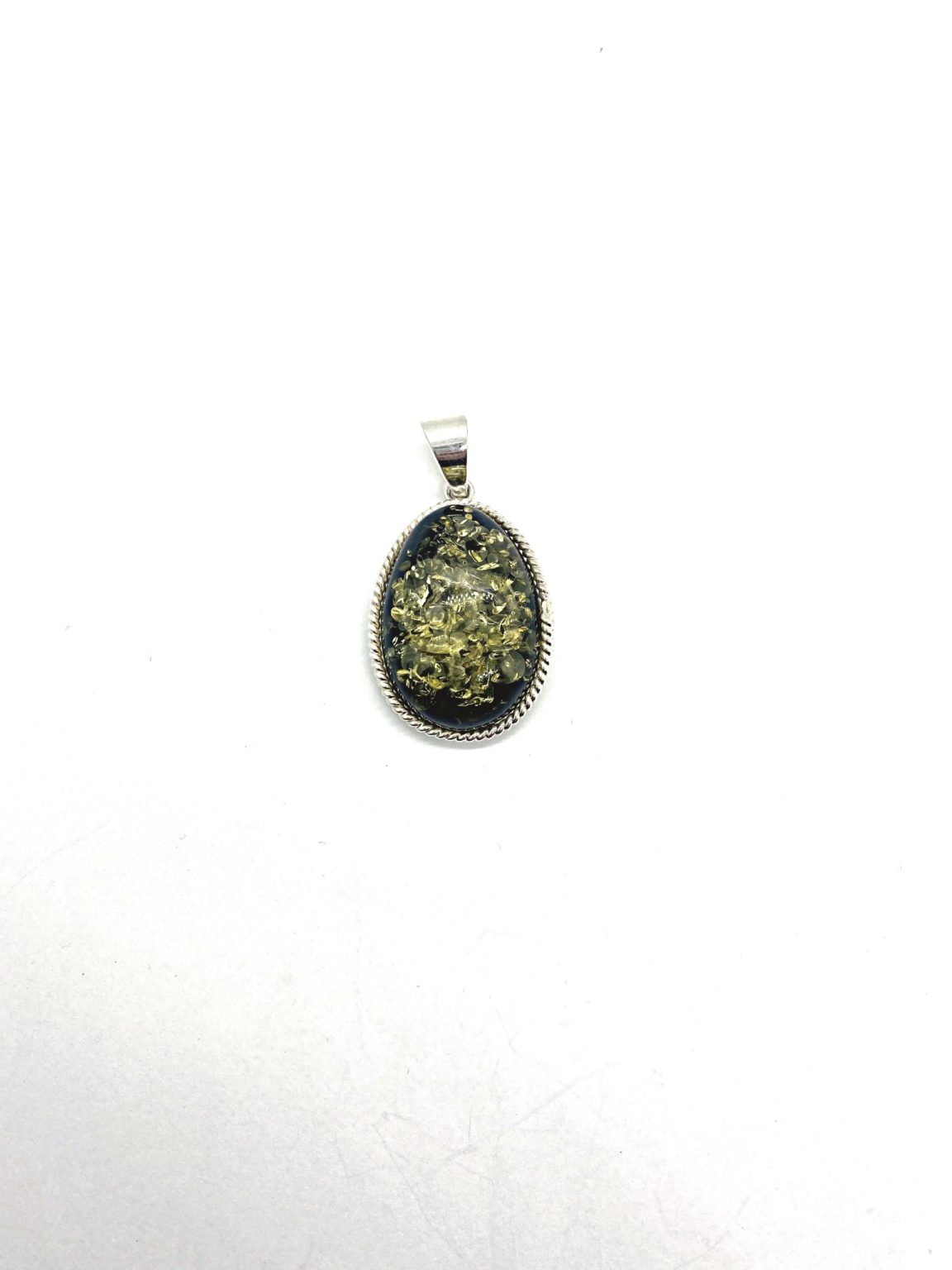 Green Amber Pendant With Silver Braid