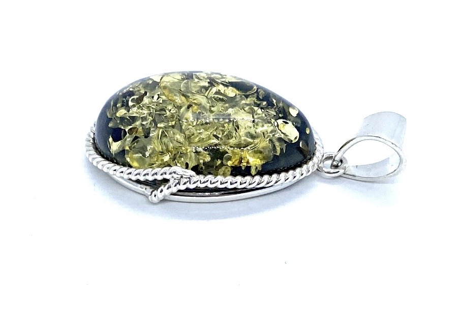 Green Amber Pendant  Green Caribbean Amber Pendant  Smooth Amber Pendant  Natural Amber Freeform  925 Sterling Silver