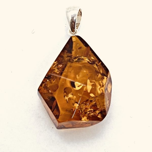Geometrical Multifaceted Drop Amber Pendant
