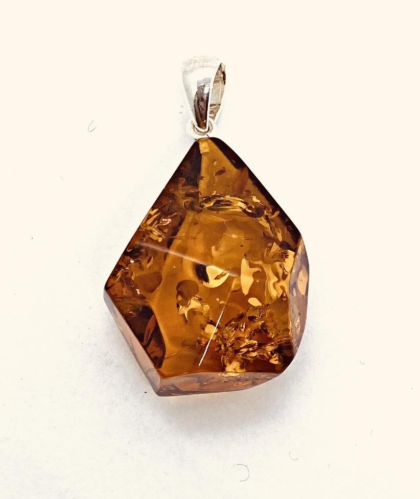 Geometrical Multifaceted Drop Amber Pendant