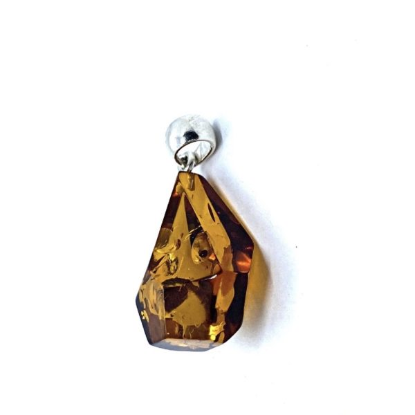 Multifaceted Drop Amber Pendant