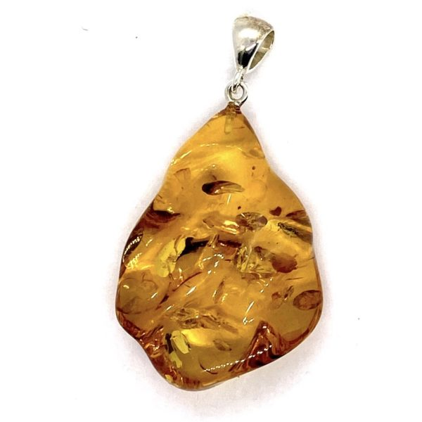 Free-form Wave Drop Amber Pendant