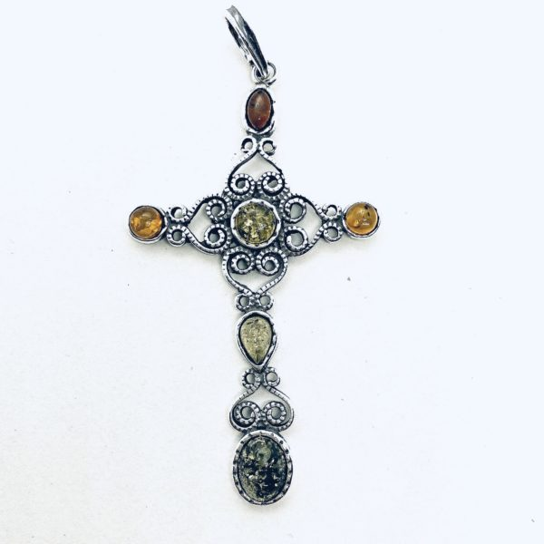 Filigree Oxidized Silver Amber Cross