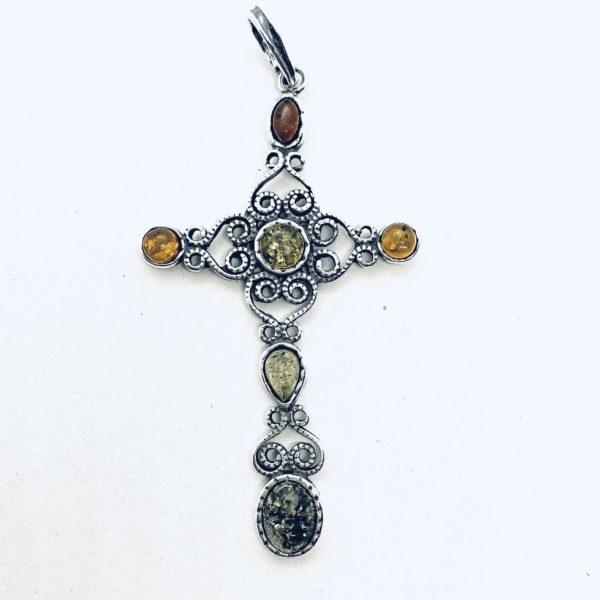 Filigree Oxidized Silver Amber Cross