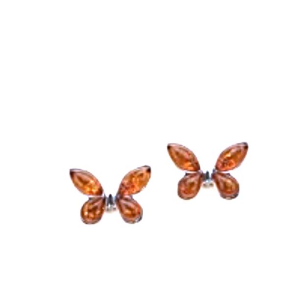 Butterfly Amber Stud Earrings