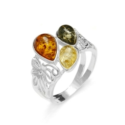 Amber/Flower Design Silver Ring