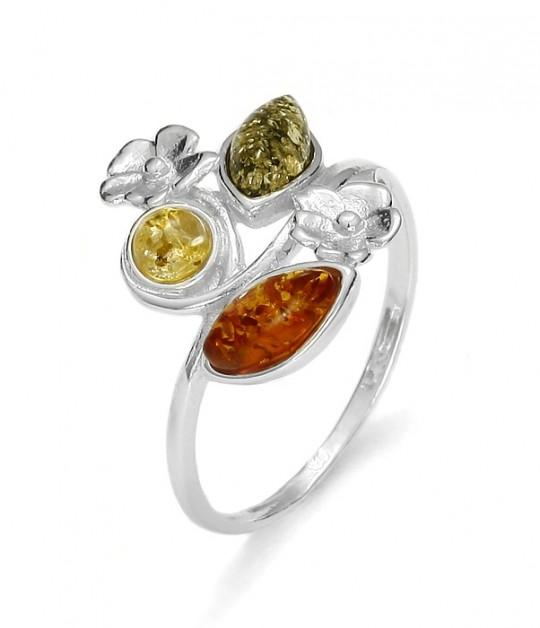 Amber / Flower Design Silver Ring
