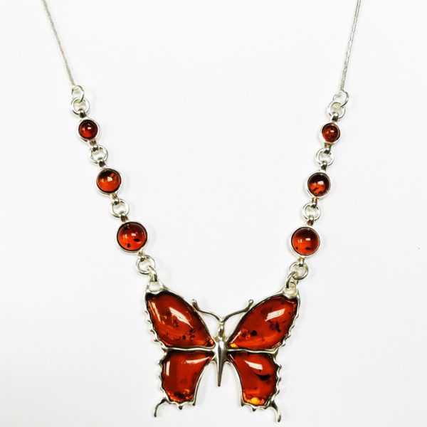 Butterfly Cognac Amber Necklace
