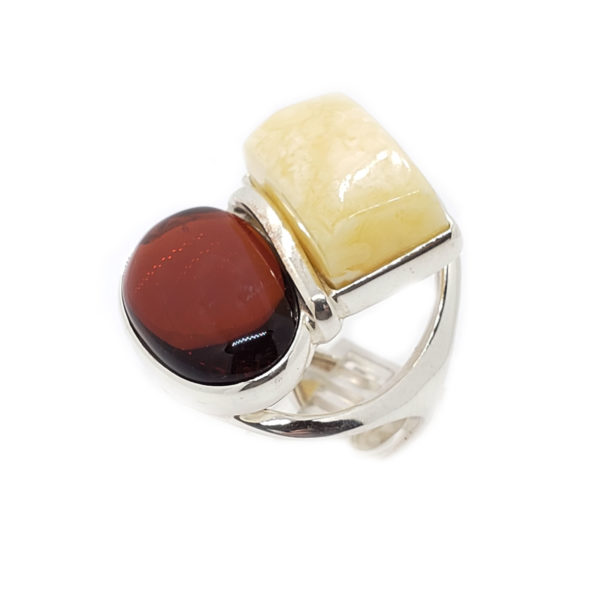 Butterscotch and Cherry Amber Adjustable Ring