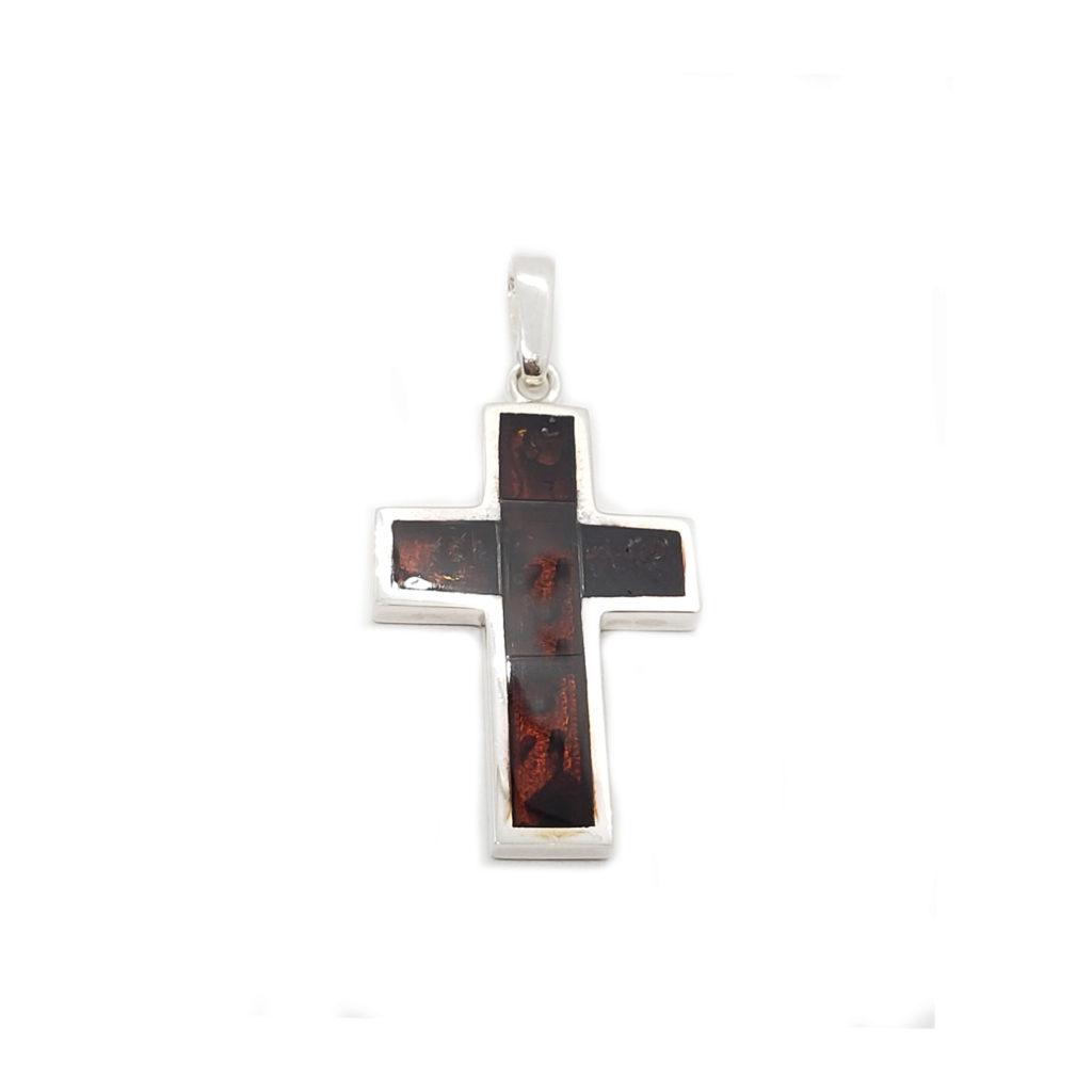 Black Cherry Inlaid Mosaic Modern Cross
