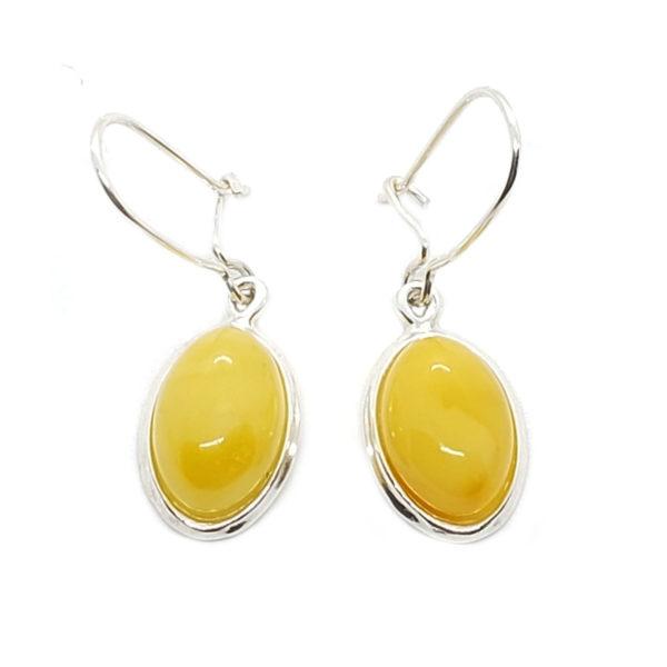 Butterscotch Amber Oval Earrings on Hooks