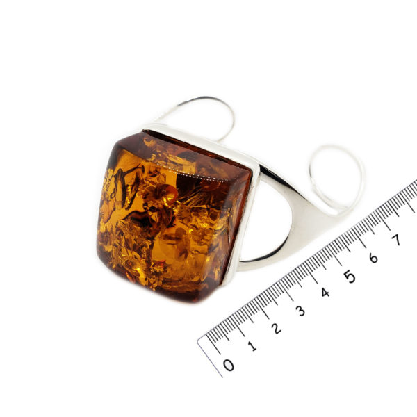 Cognac Amber /925 Silver Cuff Bracelet