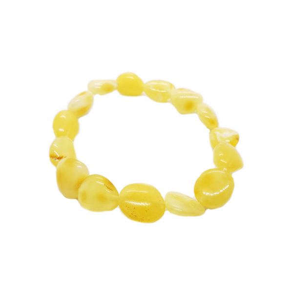 Butterscotch Amber Stretch Bracelet Flat Free Form Shaped