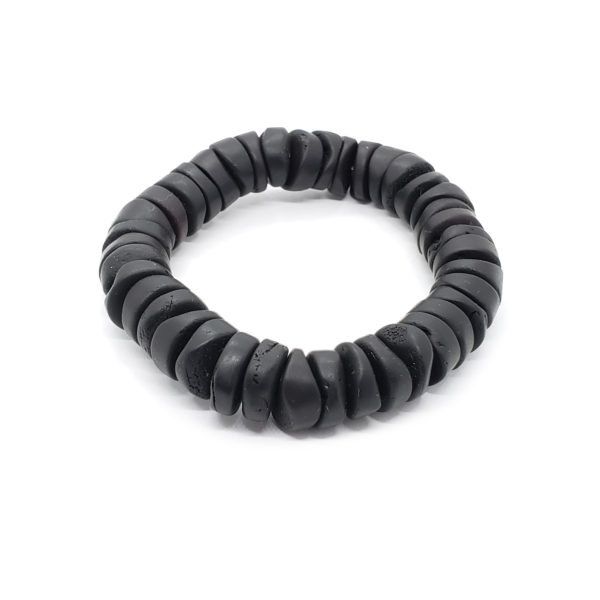 Natural Black Amber Matte Finish Unisex Bracelet