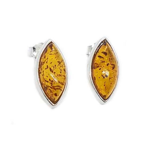 Cognac Amber Marquise Stud Earrings