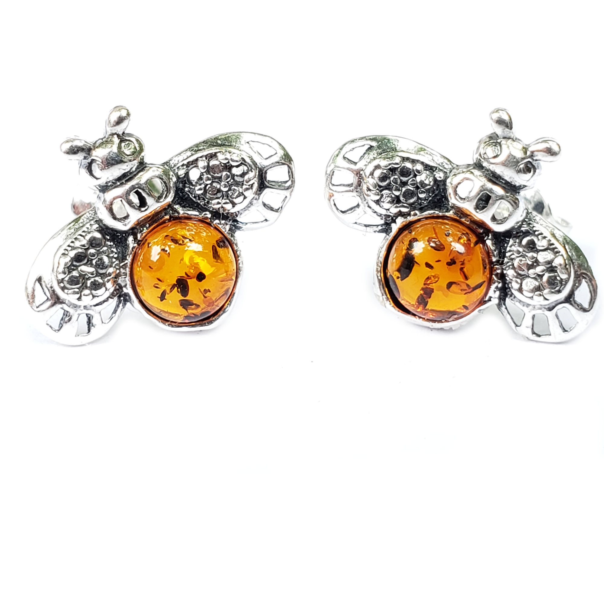 Cognac Amber Bee Stud Earrings