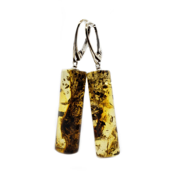 Unique Shaped Tube Amber Earrings with Intense Inclusions