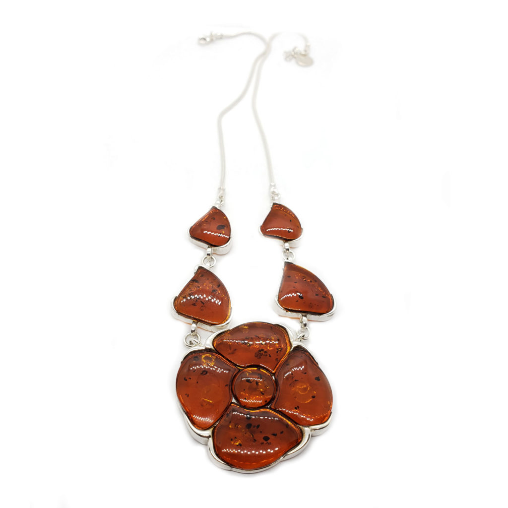 Dark Cognac Amber Flower Necklace