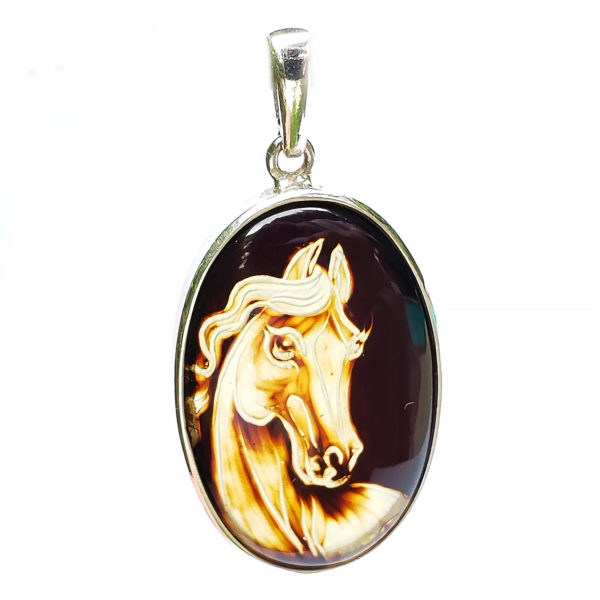 Hand Carved Horse Amber Pendant