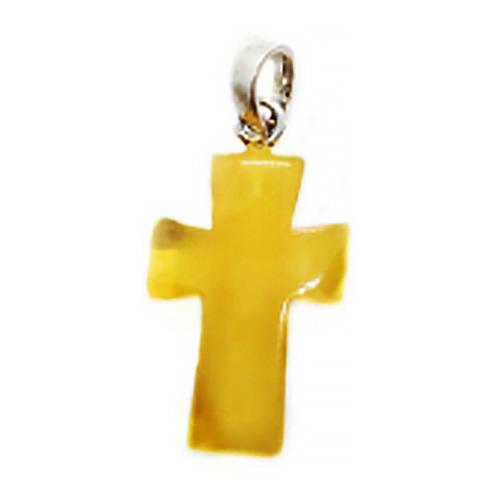 Butterscotch Amber Hand Carved Cross Pendant