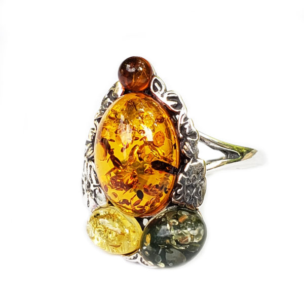 Multi Color Amber Mayan Design Ring