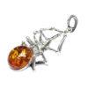 Cognac Amber Oxidized Silver Spider Pendant