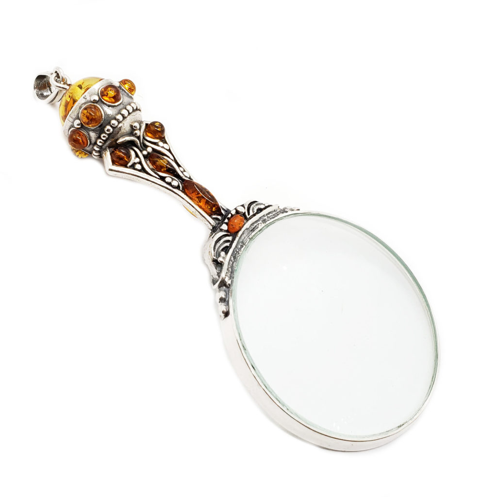 Cognac Amber .925 Sterling Silver Magnifying Glass Pendant