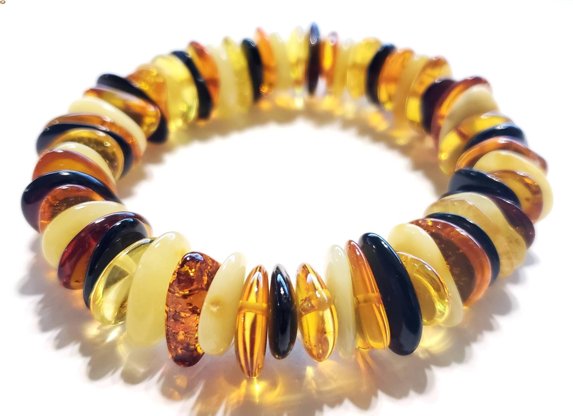 Multi-Color Amber Tablets Stretch Bracelet