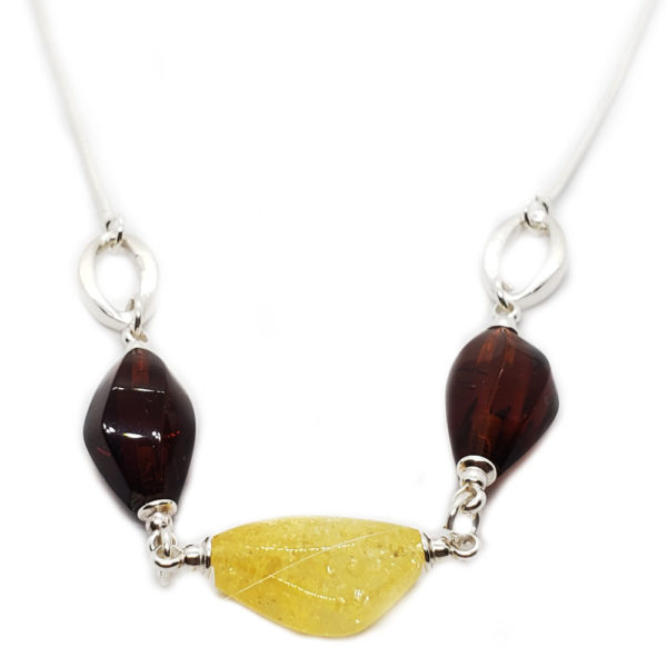 Multi Color Amber Sterling Silver 3 Stone Necklace