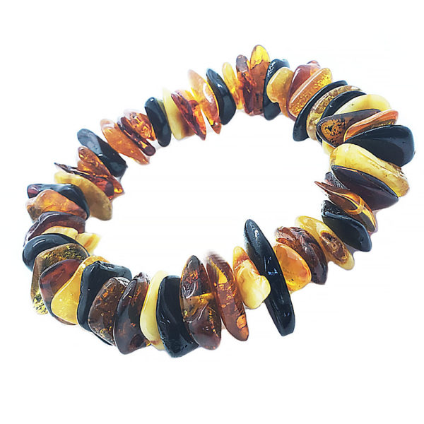 Multi Color Raw Amber Stretch Bracelet