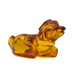 Cognac Amber Carved Dog