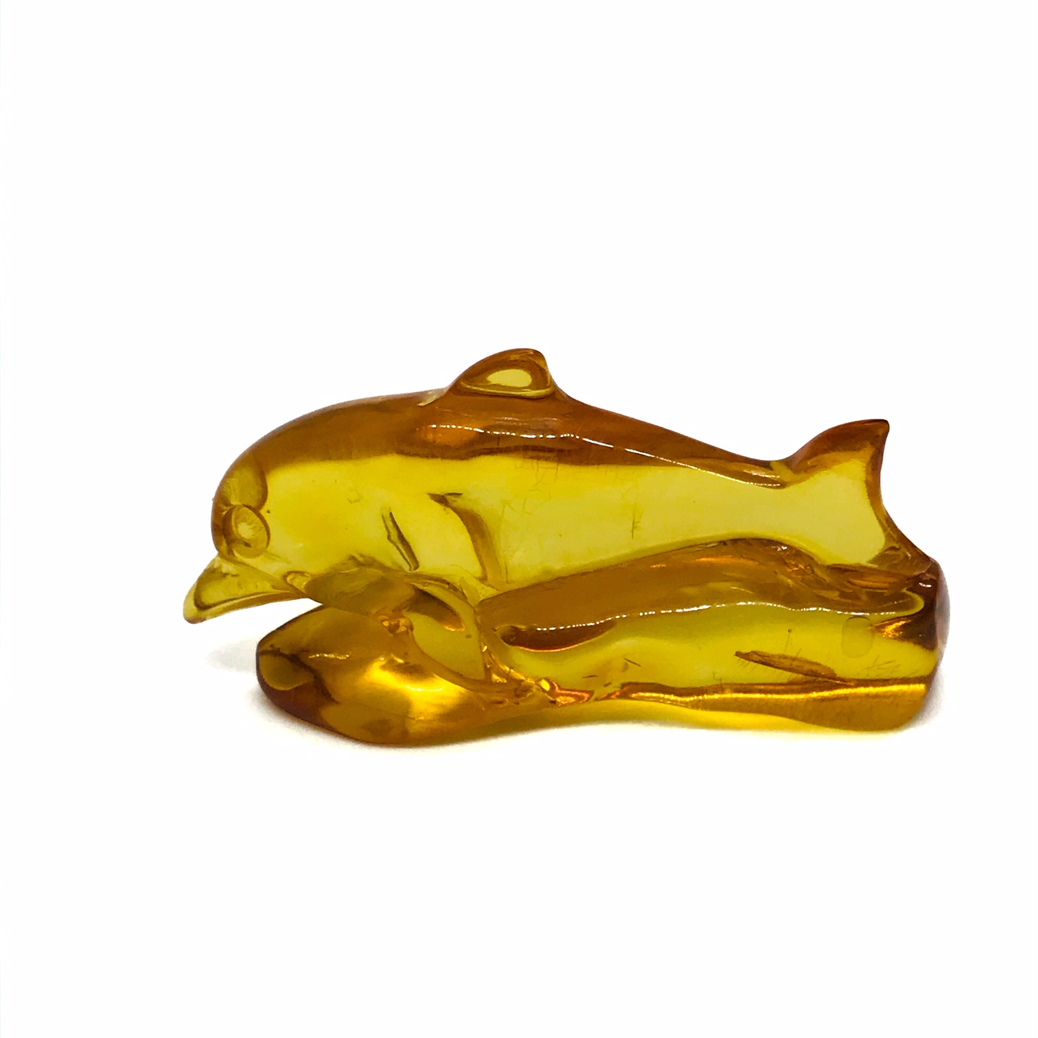 Cognac Amber Carved Dolphin