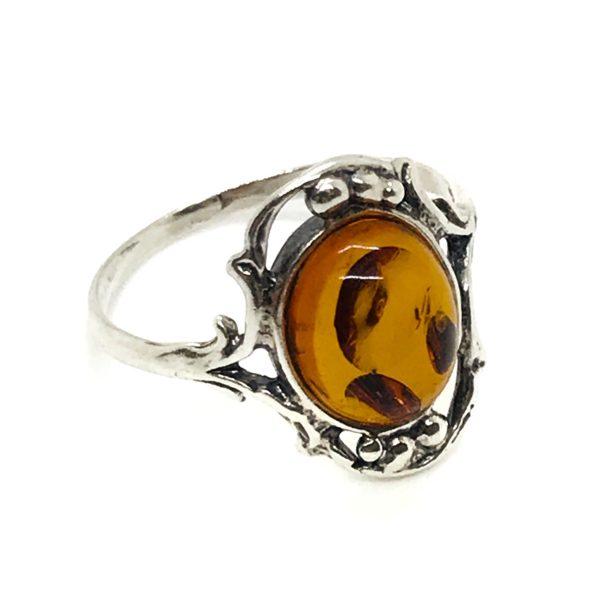 Genuine Cognac Amber .925 Silver Ring