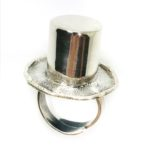 Alice In Wonderland Theme Silver Hat Ring