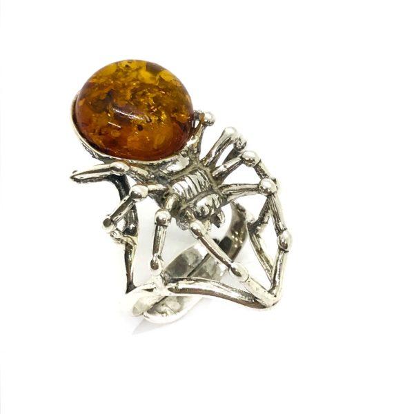 "Cognac Amber Sterling Silver ""Spider"" Adjustable Ring"