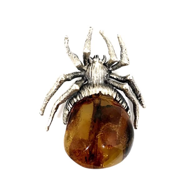 Cognac Amber Sterling Silver Large Spider Pin/ Brooch