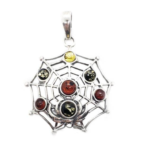 "Multi Color Amber 925 Silver ""Spider Net"" Pendant"