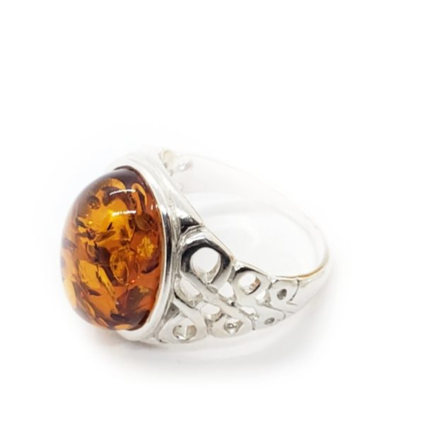 Oval Cognac Amber 925 Silver Ring
