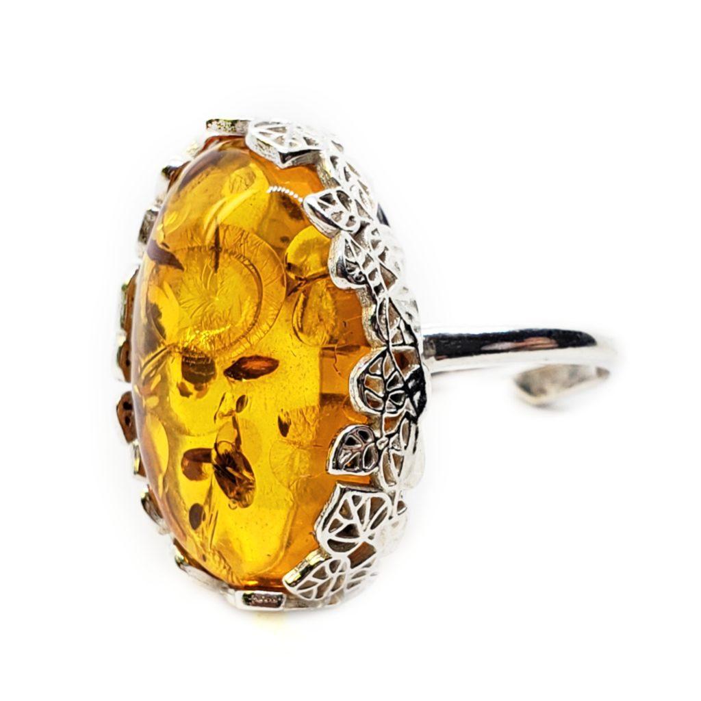 Cognac Amber Sterling Silver Adjustable Ring