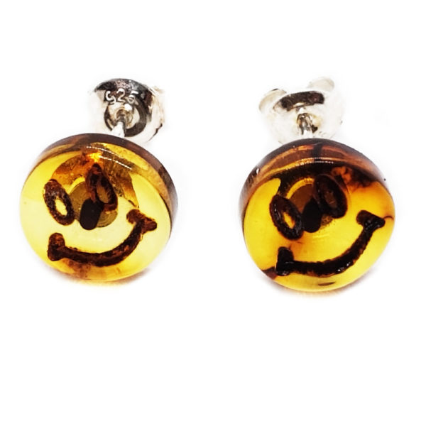 """Baltic Amber """"Smiley Face"""" Cameo Stud Earrings"""