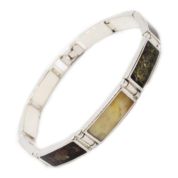 Multi Color Amber .925 Silver Modern Link Bracelet