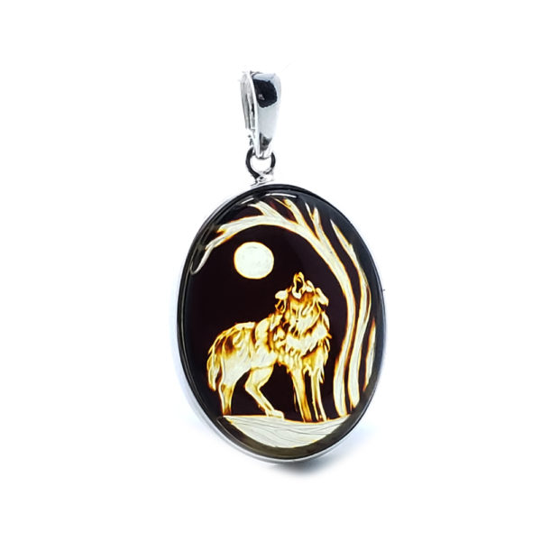 """Hand Carved Amber .925 Silver """"Wolf And Moon"""" Cameo Pendant"""