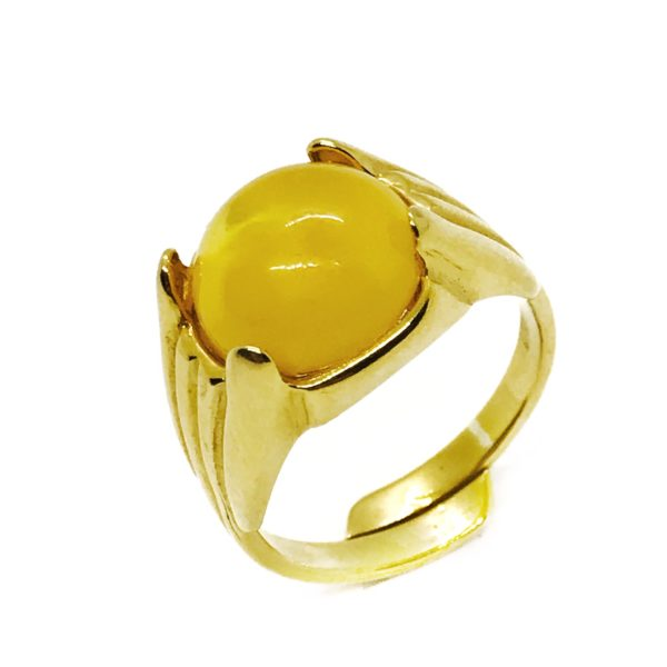 Butterscotch Amber Gold Plated Silver Adjustable Ring